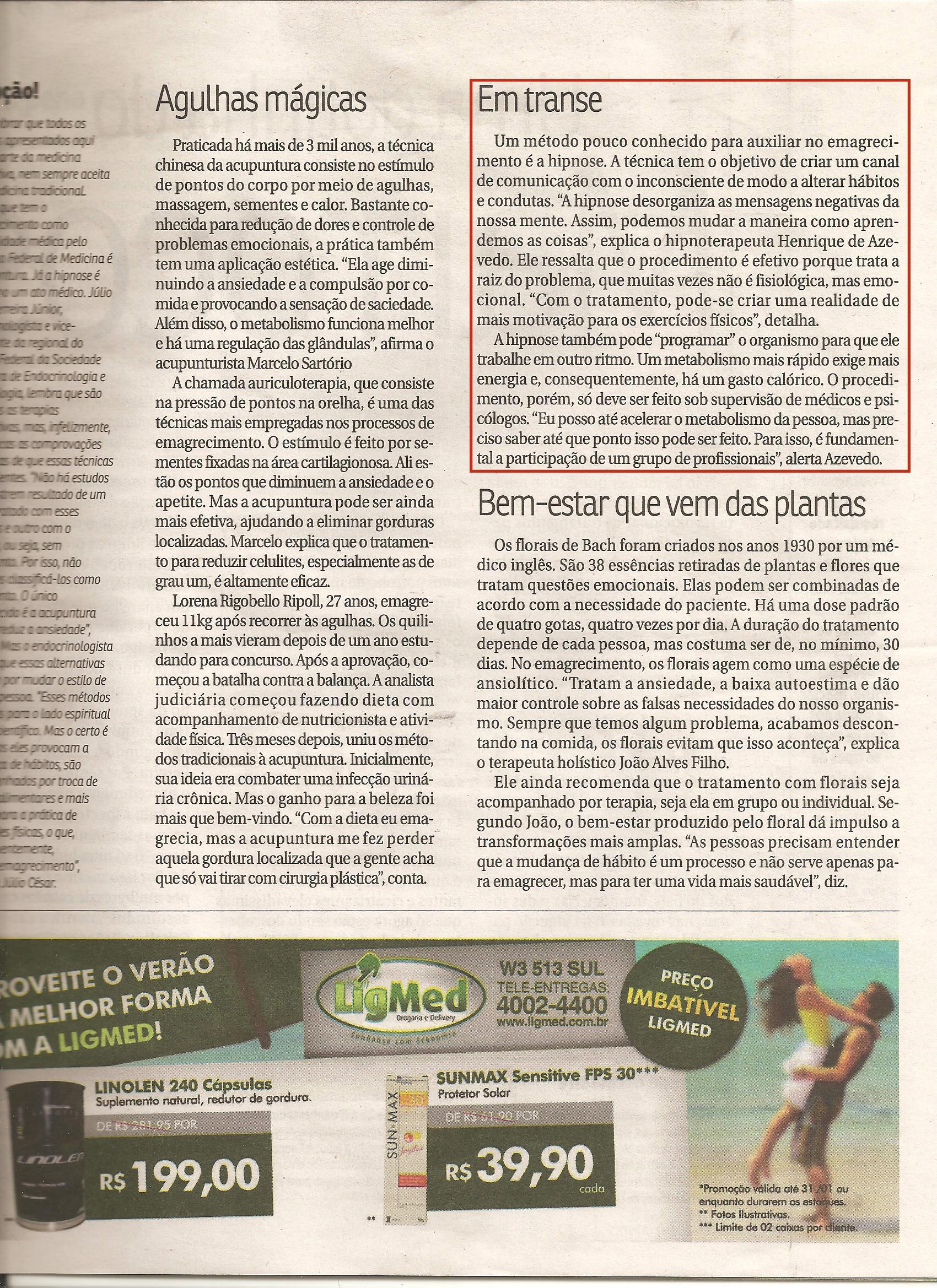 Hipnoticus - Henrique de Azevêdo no Correio Braziliense 002 - 31/12/2010 - Hipnose no Emagrecimento