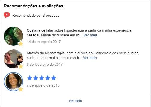 Hipnoticus — 5 Estrelas de Avaliação no Facebook